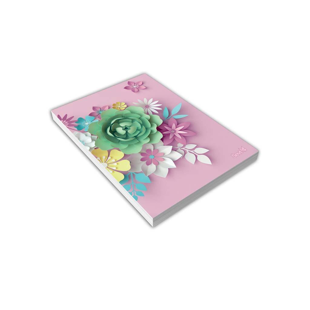 Blok A5 linajkový, 80 l., lepený, vnútorná potlač - 3D kvety ružové 2019