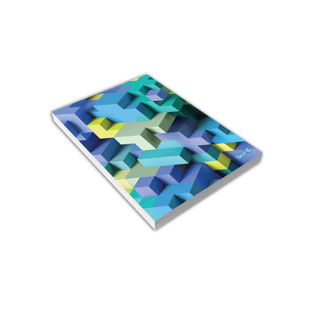 Blok A6 linajkový, 80 l., lepený - 3D kocky modré 2019