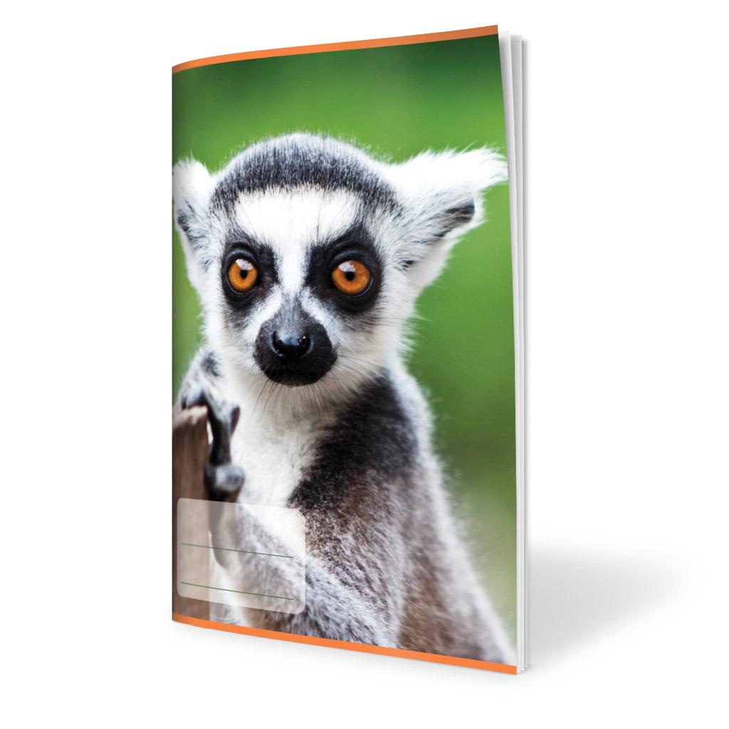 Zošit 523, A5 linajkový (12 mm), 20 l., zviera - Lemur 2019