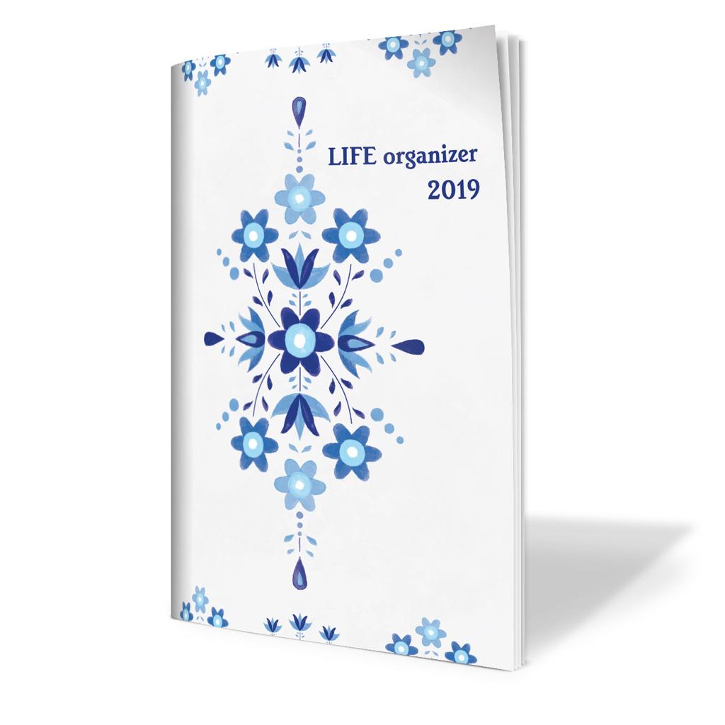 Life organizér 2019 - ľudový ornament modrý