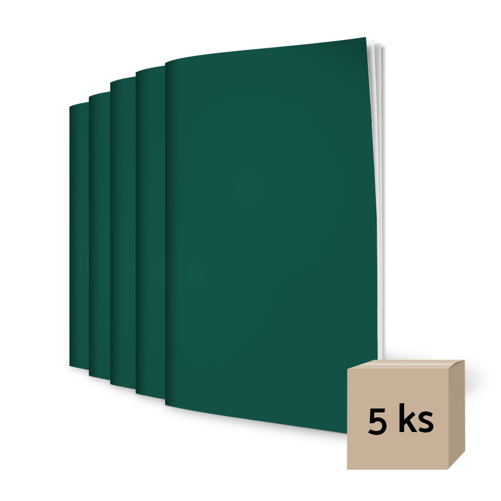Zošit 460, A4, čistý, 60 l. - tmavozelený / 5 ks