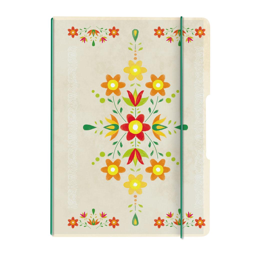 Obal s gumičkou A4 + 2x náplň - ľudový ornament žltý