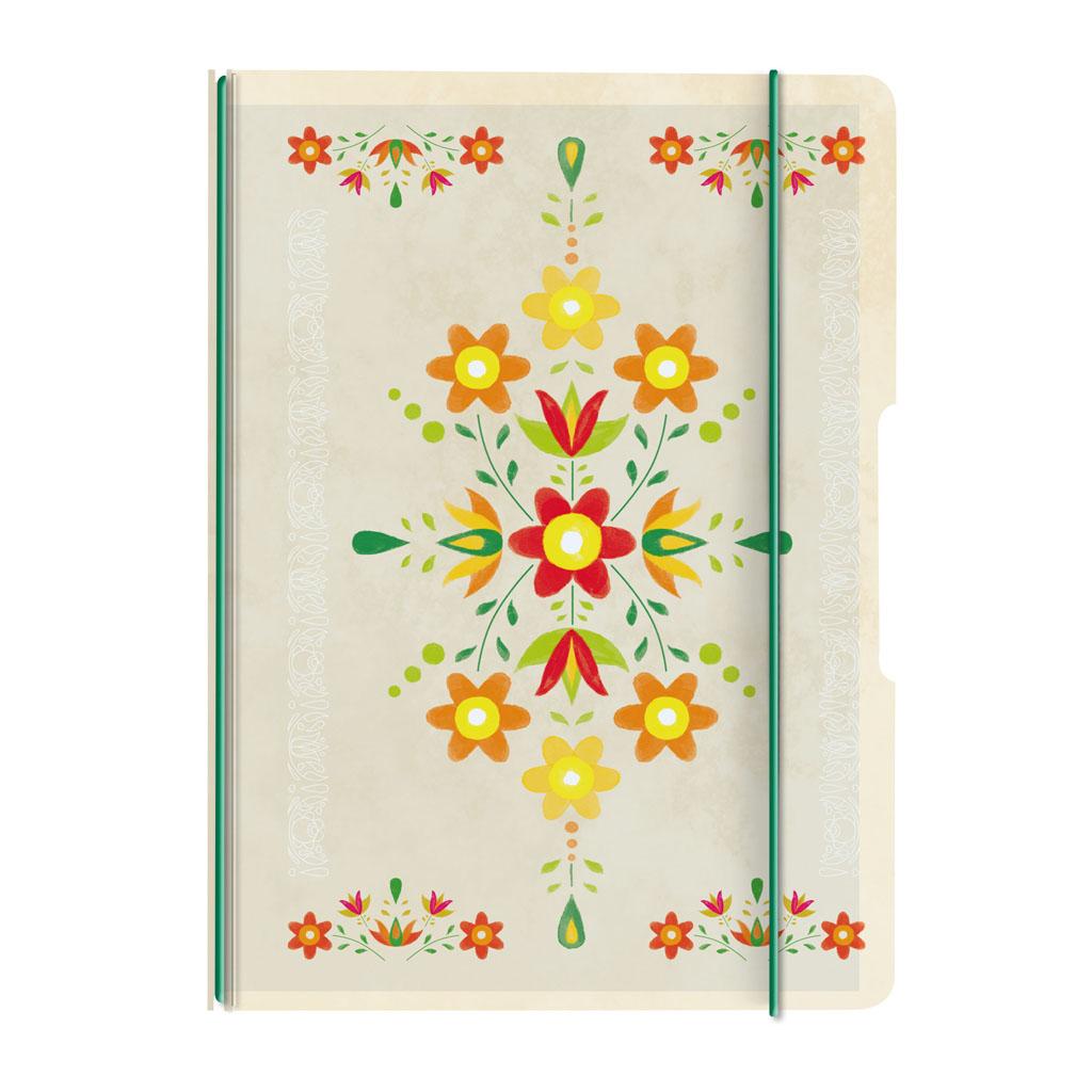 Obal s gumičkou A5 + 1x náplň - ľudový ornament žltý