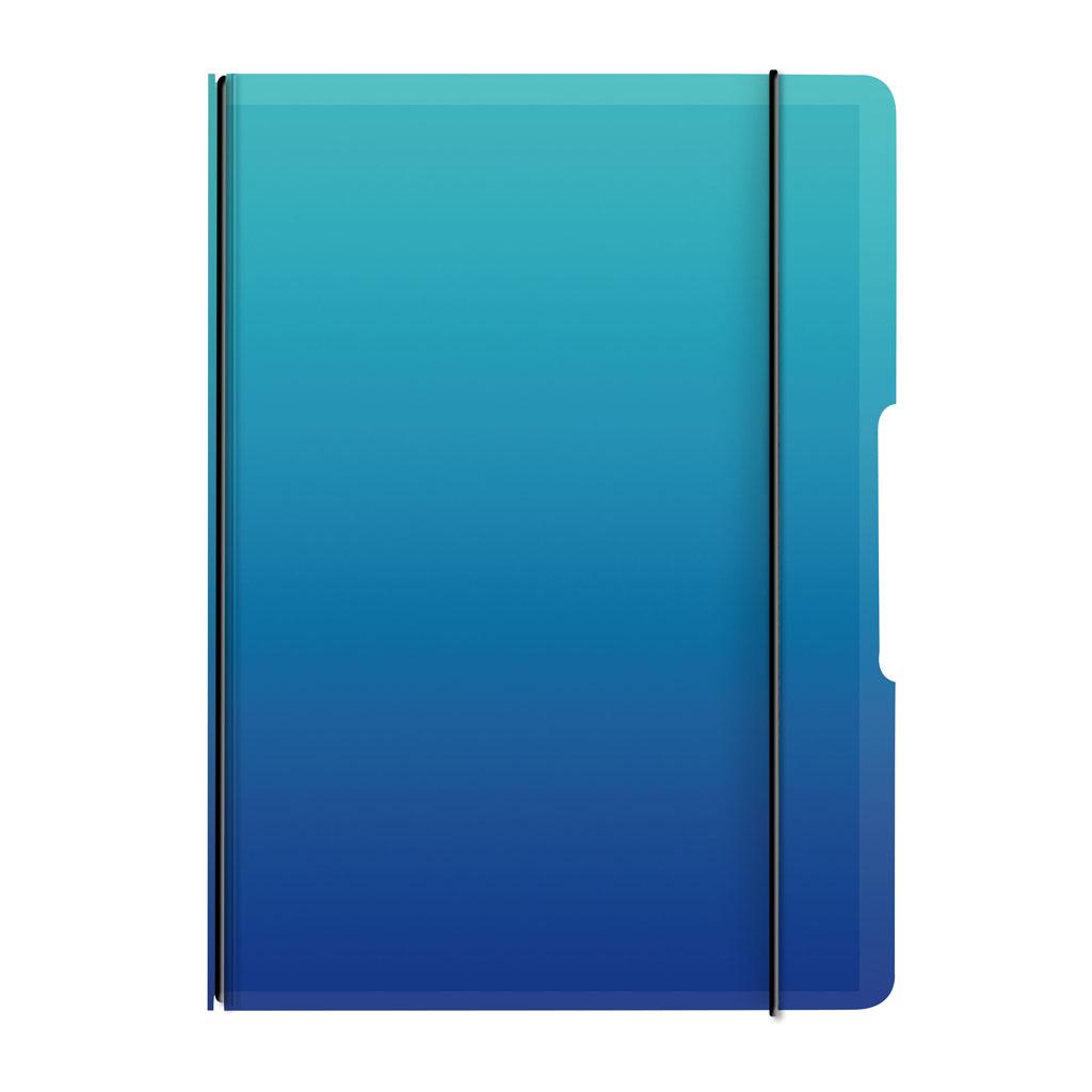 Obal s gumičkou A5 + 1x náplň - gradient modrý