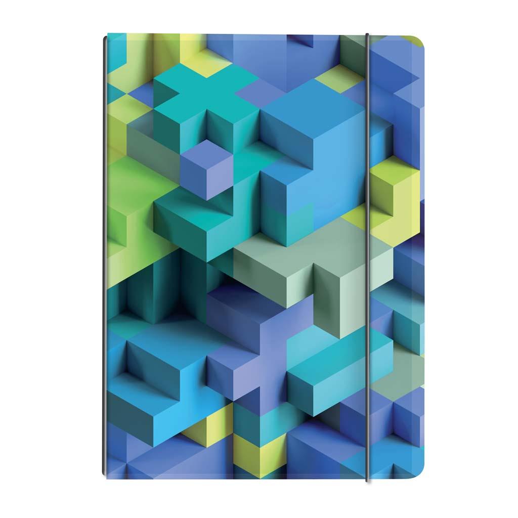Obal s gumičkou A4 + náplň - 3D kocky modré 2019