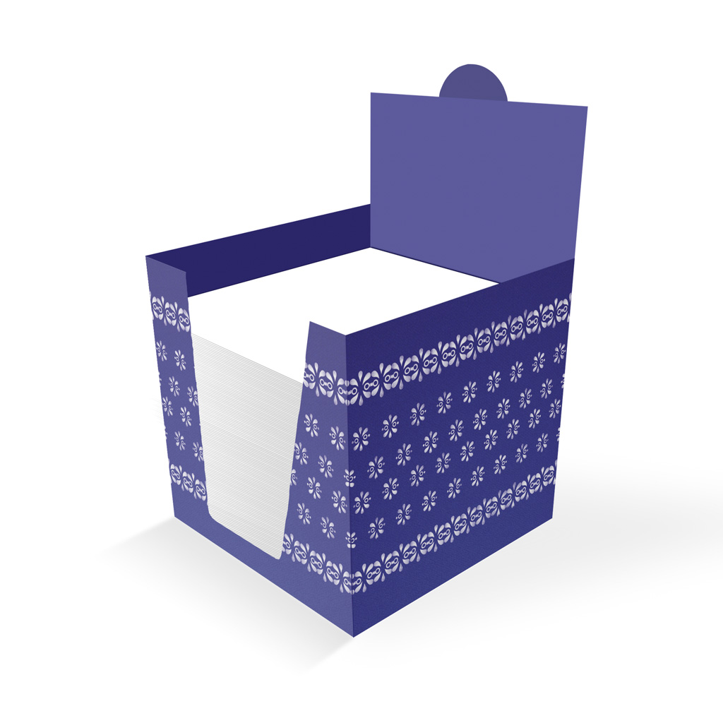 Sypané bločky 100x100x100 mm, v papierovom stojane - modrotlač