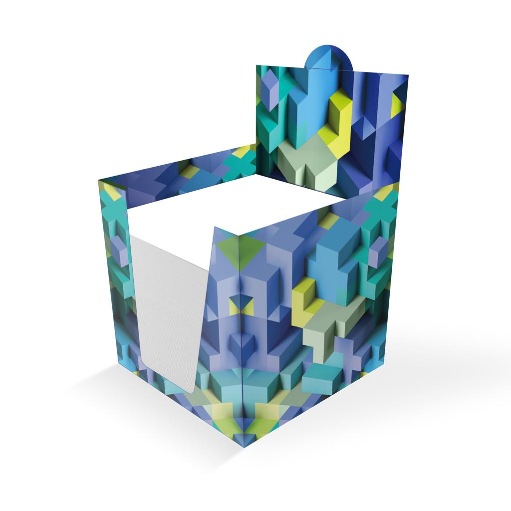 Sypané bločky 100x100x100 mm, v papierovom stojane - 3D kocky modré UV
