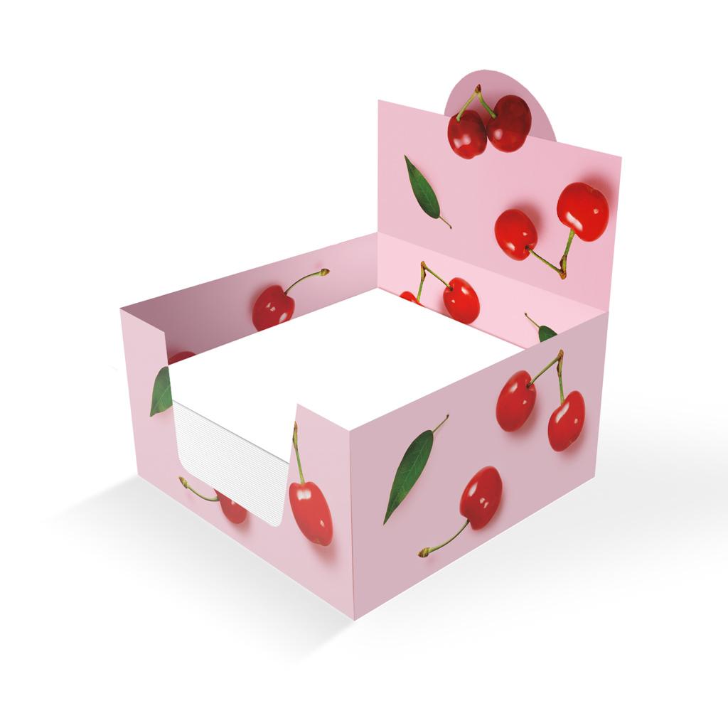 Sypané bločky 100x100x50 mm, v papierovom stojane, ovocie - čerešne