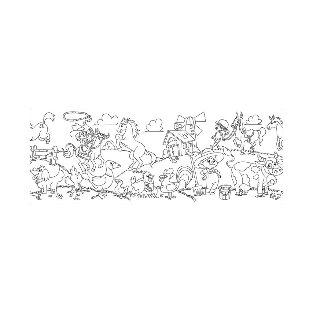 Omaľovanka, samolepiaca rolka, Farma, 30 cm x 4 m