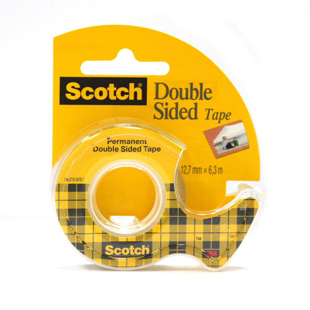 3M Scotch obojstranná lepiaca páska s dispenzorom, 12,7 mm x 6,3 m