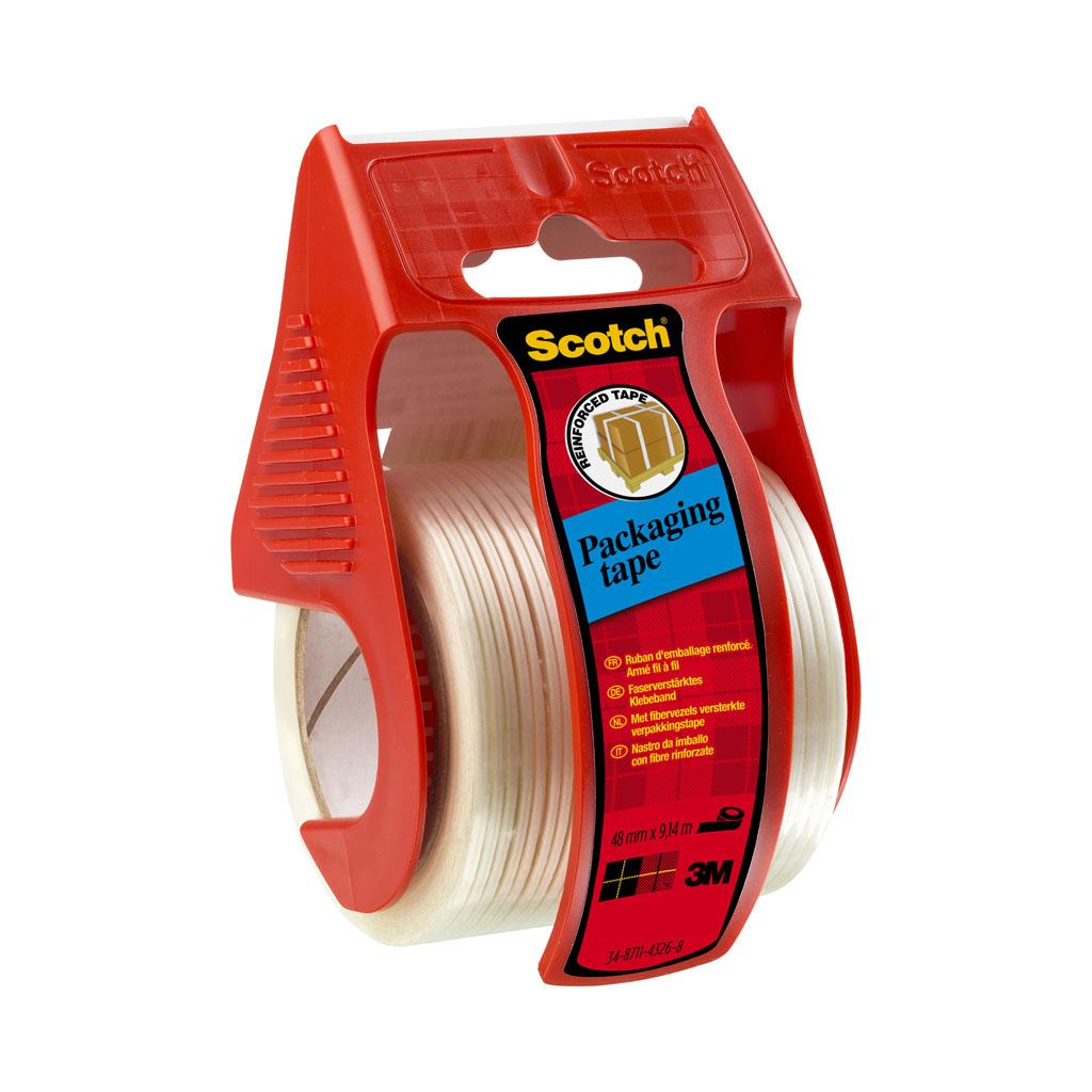 3M Scotch silná baliaca páska s vláknom, transparentná, 50mm x 9m