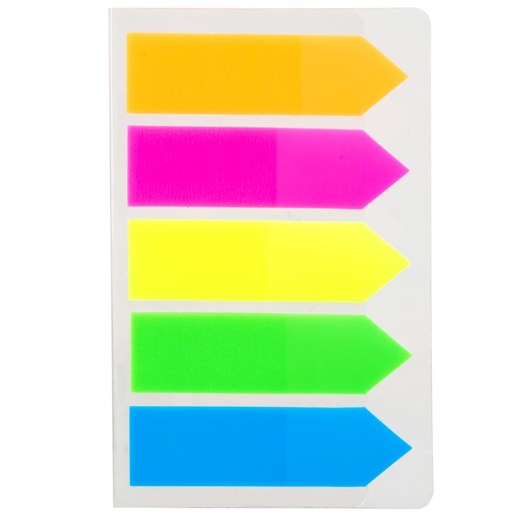 Deli Samolepiace záložky 43x12mm, 5 farieb x 20 listov, šípka - mix farieb