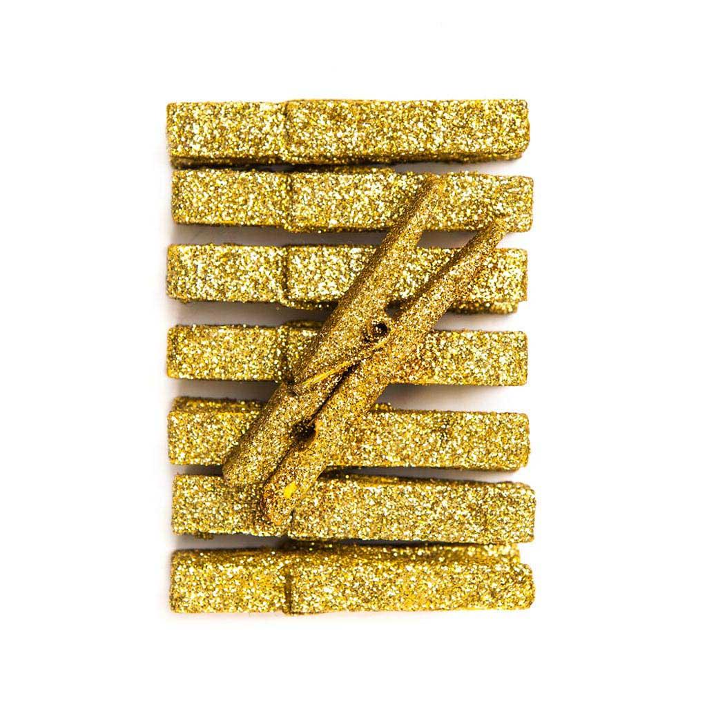 Štipce - glitrové, zlaté 8 ks