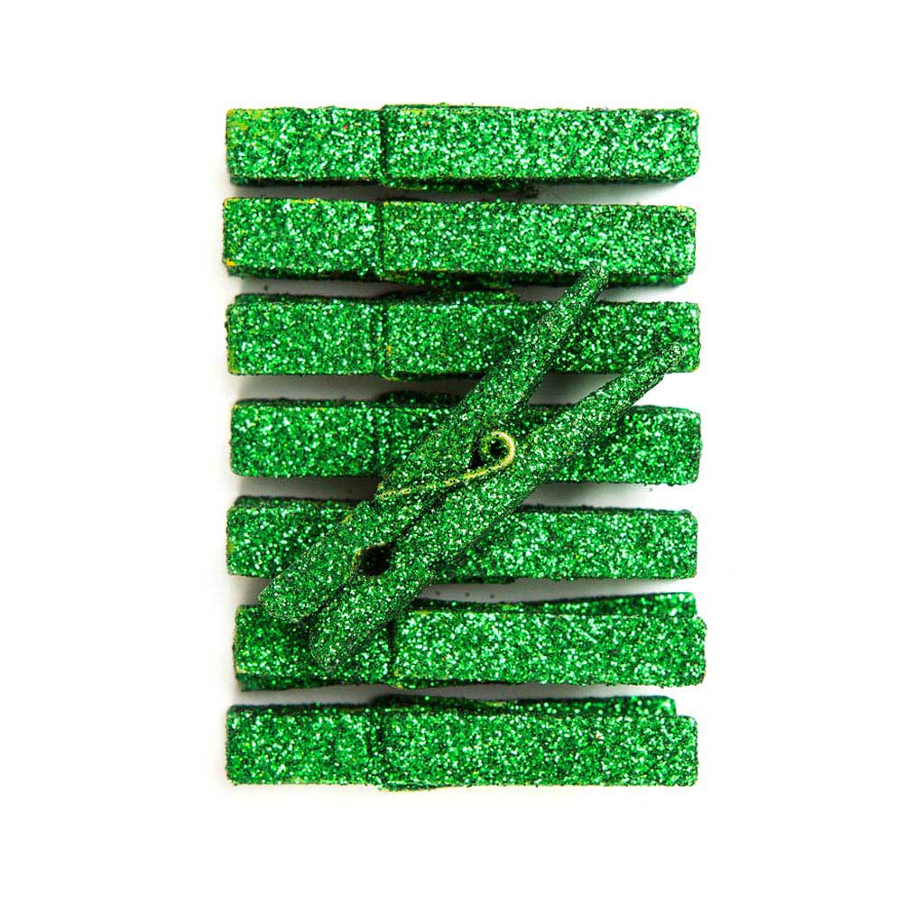 Štipce - glitrové, zelené 8 ks