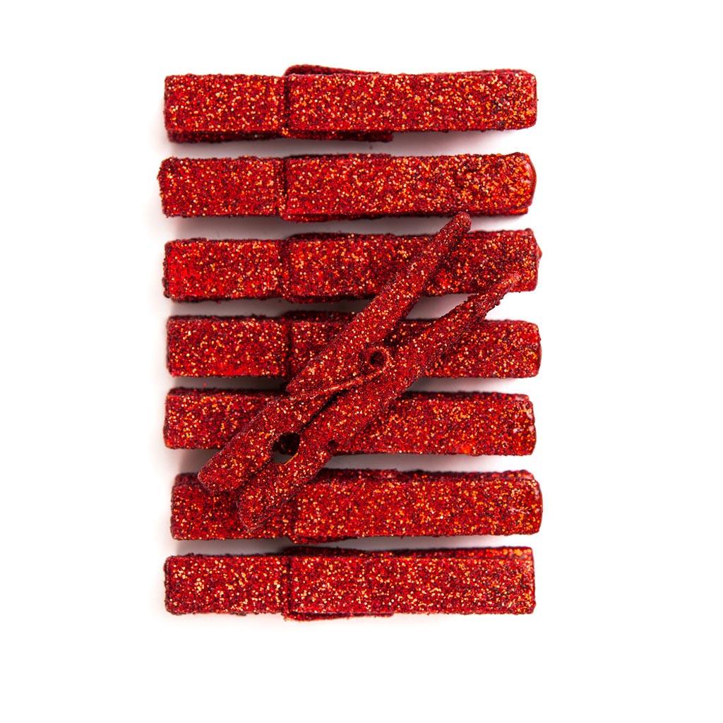 Štipce - glitrové, červené 8 ks
