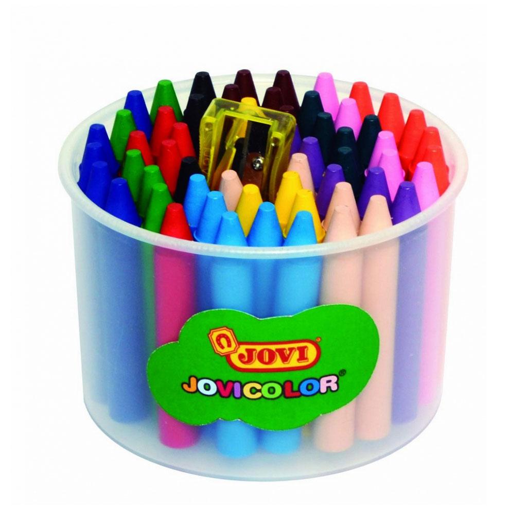 JOVI farbičky voskové Jovicolor / 60 ks / dĺ. 75mm, priemer 12mm / + strúhadlo, v kelímku