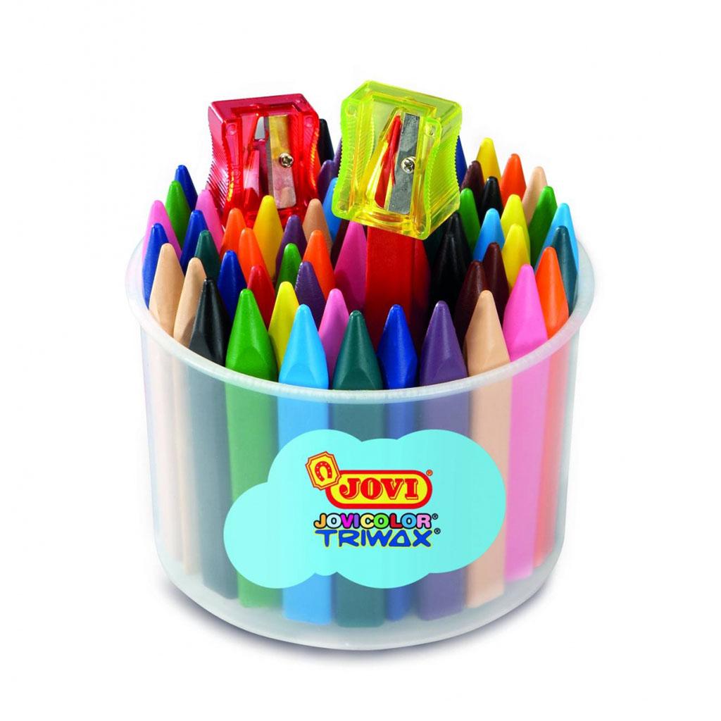 JOVI farbičky voskové trojhranné Jovicolor TRIVAX / 72ks / dĺ. 82mm, priemer 11mm / + strúhadlo, v kelímku