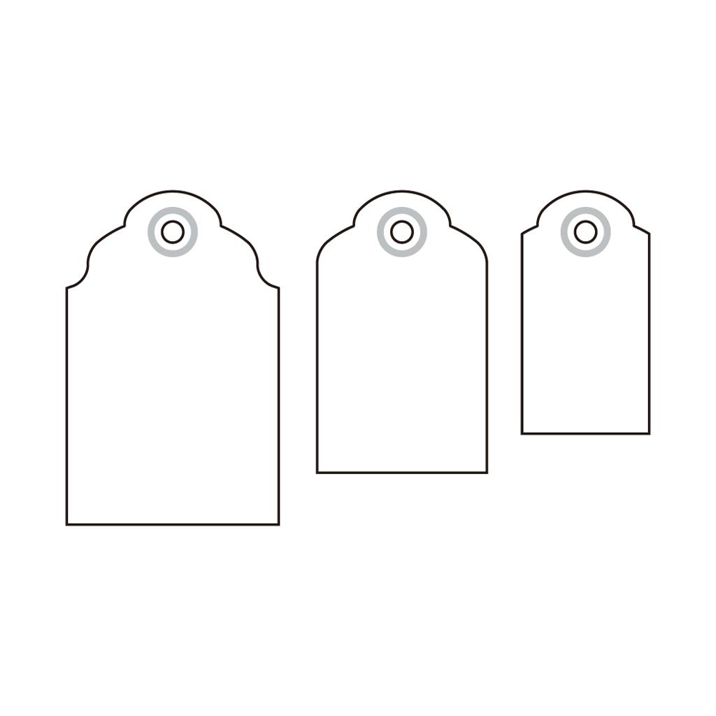 """Dekoračný dierovač 3 v 1;  6,3 cm, 5,1 cm, 3,8 cm,  """"štítky"""""""