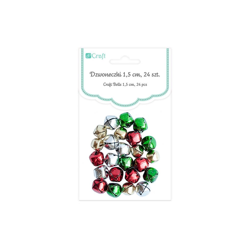 Dekoračné kovové rolničky 1,5 cm, 24 ks, mix farieb
