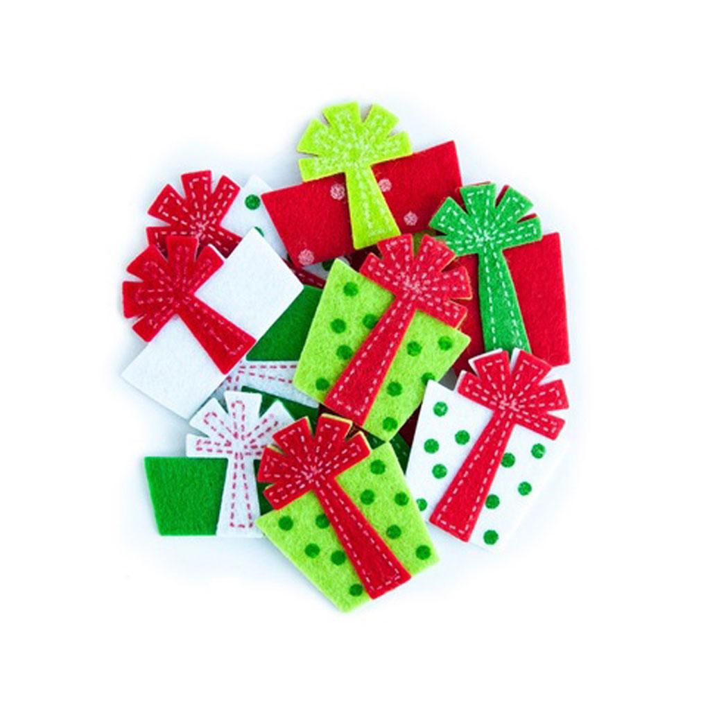 """3D filcové nálepky """"vianočné darčeky"""", 12 ks"""