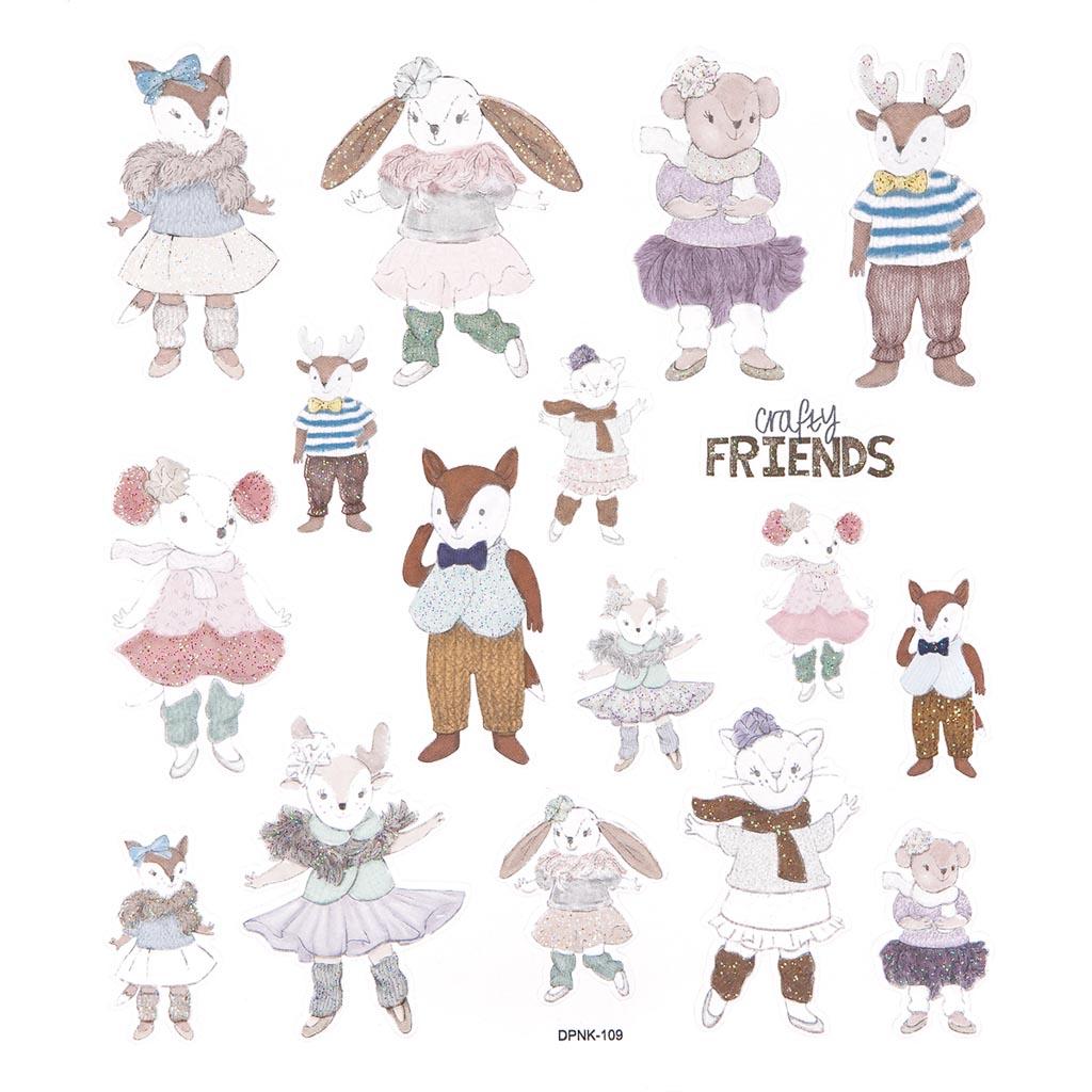 Nálepky glitrové Crafty friends, 17 ks
