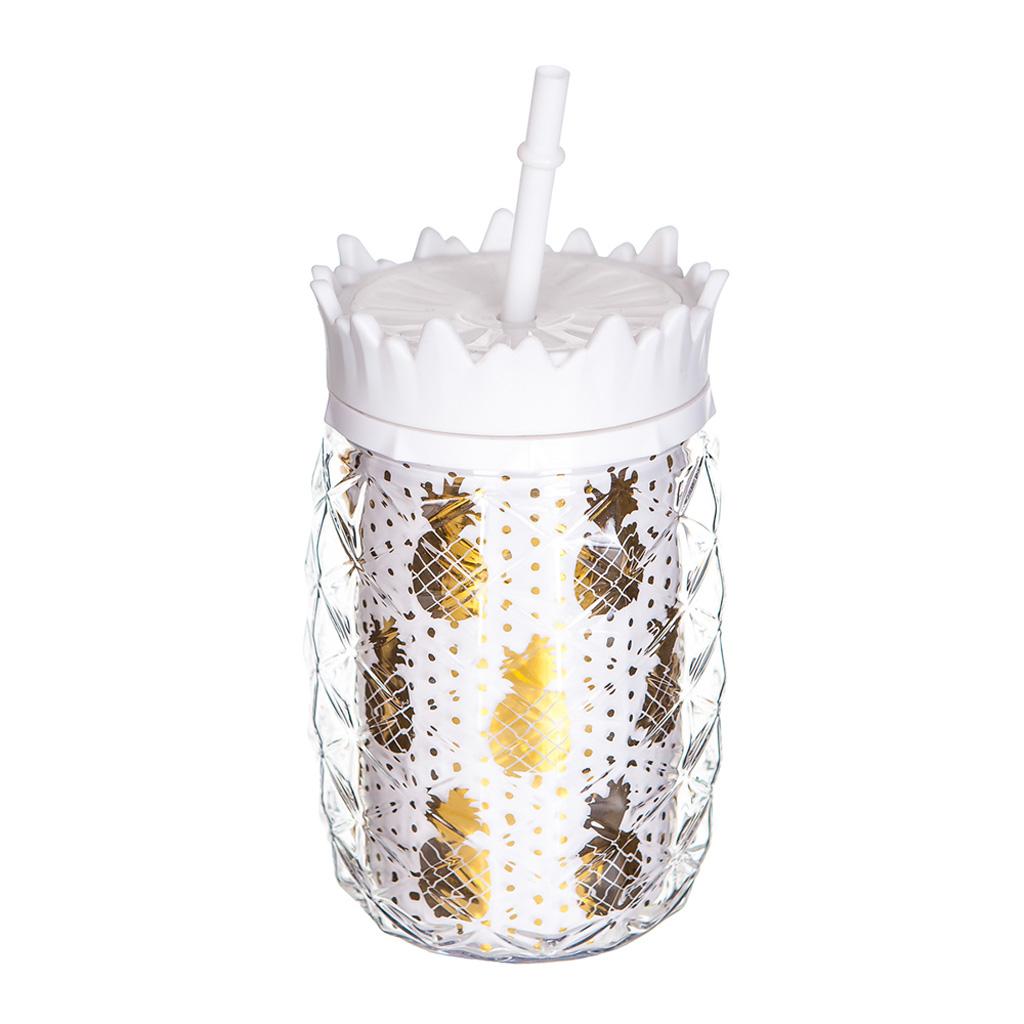 """Pohár na limonádu so slamkou """"ananás"""" biely, 430ml"""