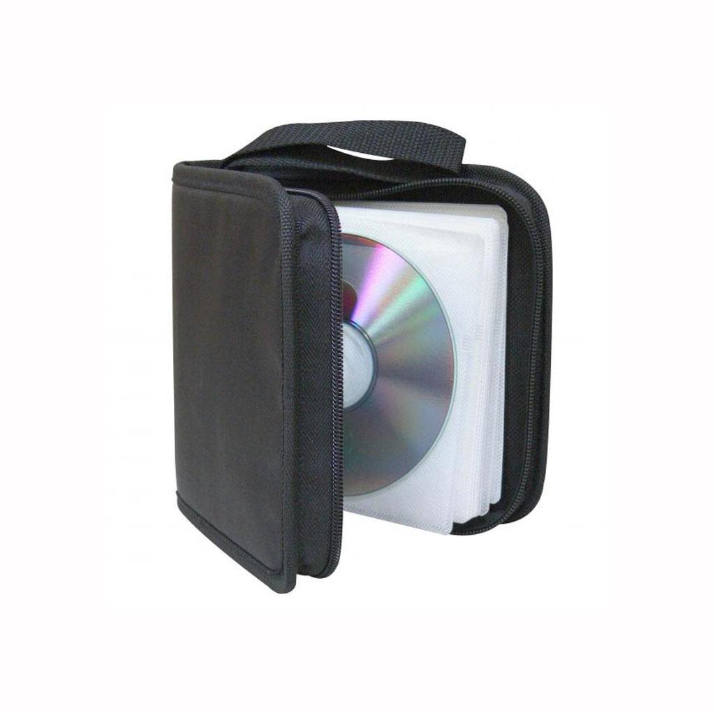 Púzdro zapínacie na zips, 40ks CD, textilné, čierne