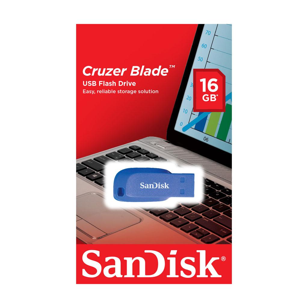 USB kľúč 16GB SanDisk USB 2.0 Cruzer Blade, elektricky modrý
