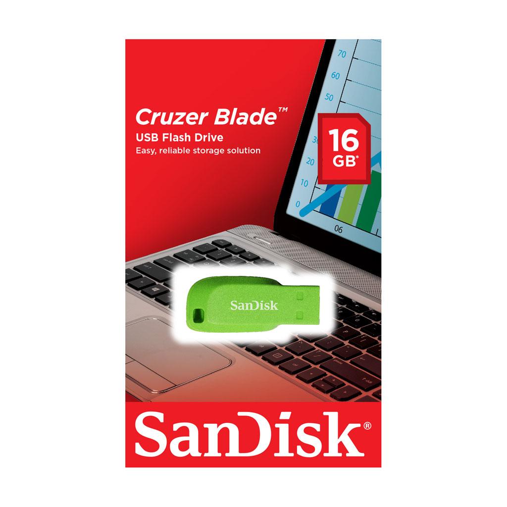 USB kľúč 16GB SanDisk USB 2.0 Cruzer Blade, elektricky zelený
