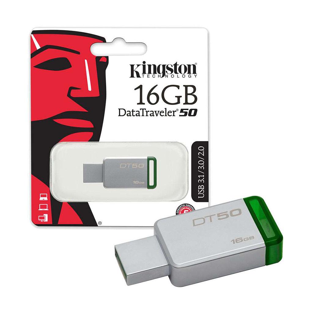 USB kľúč 16GB Kingston USB 3.0 DataTraveler 50, kovový, zelený