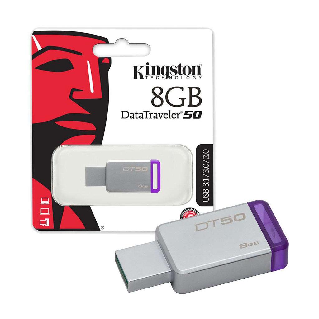 USB kľúč 8GB Kingston USB 3.0 DataTraveler 50, kovový, fialový