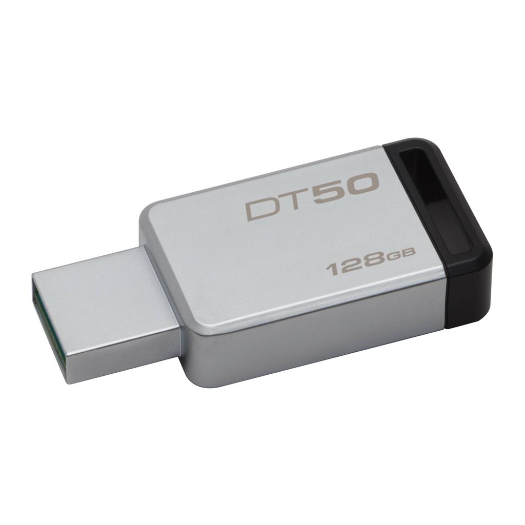 USB kľúč 128GB Kingston USB 3.0 DataTraveler 50, kovový, čierny