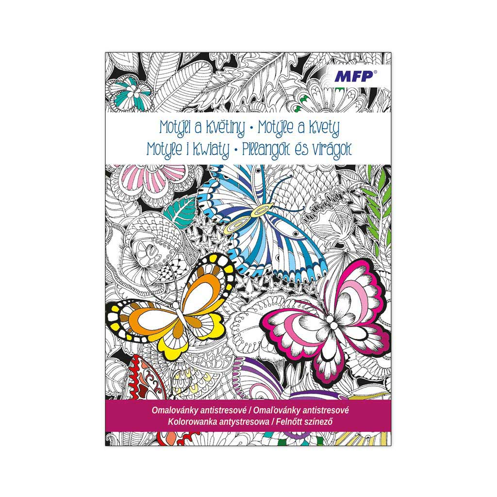 Omaľovánky antistresové, Motýle a kvety