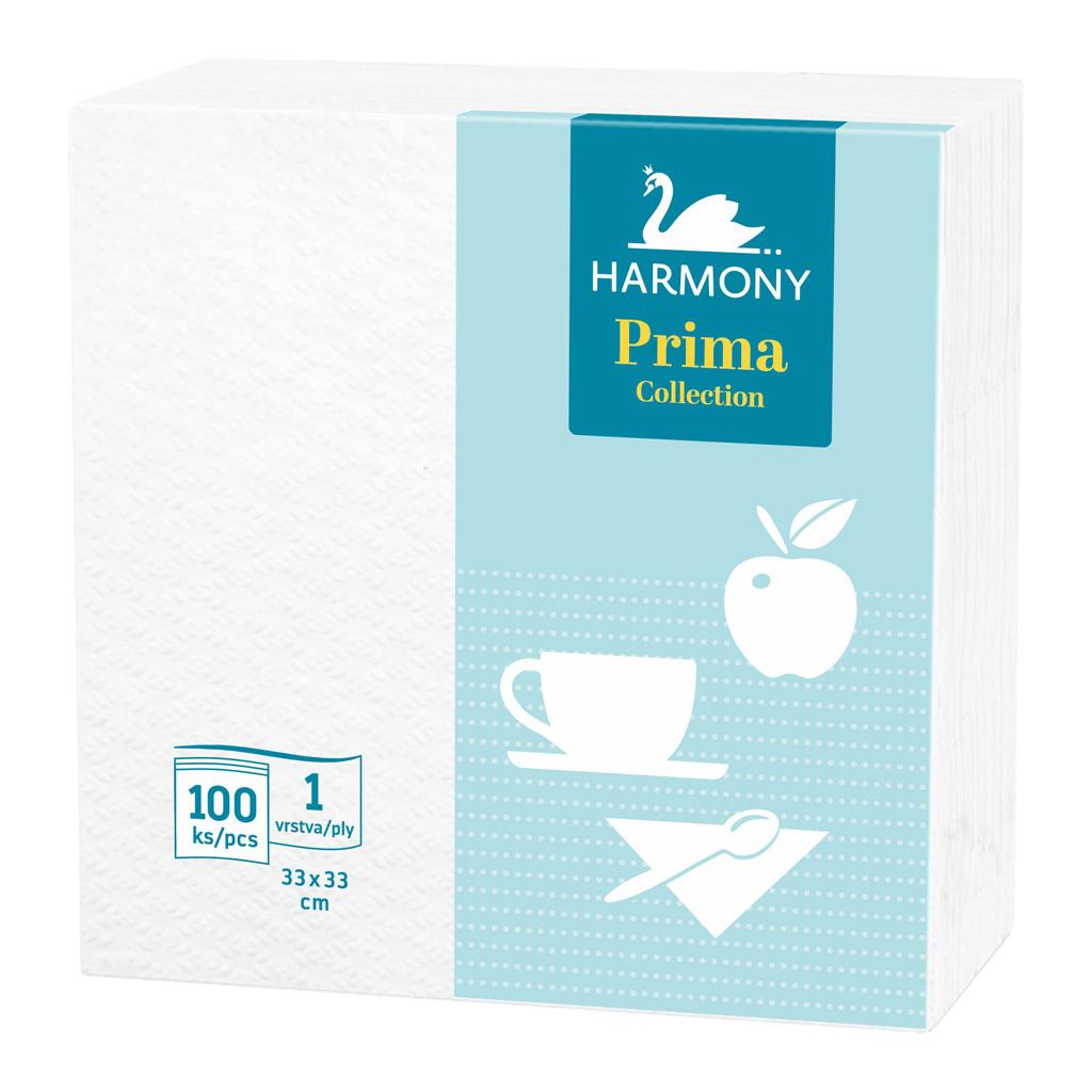 Papierové obrúsky biele HARMONY Prima / 100 ks