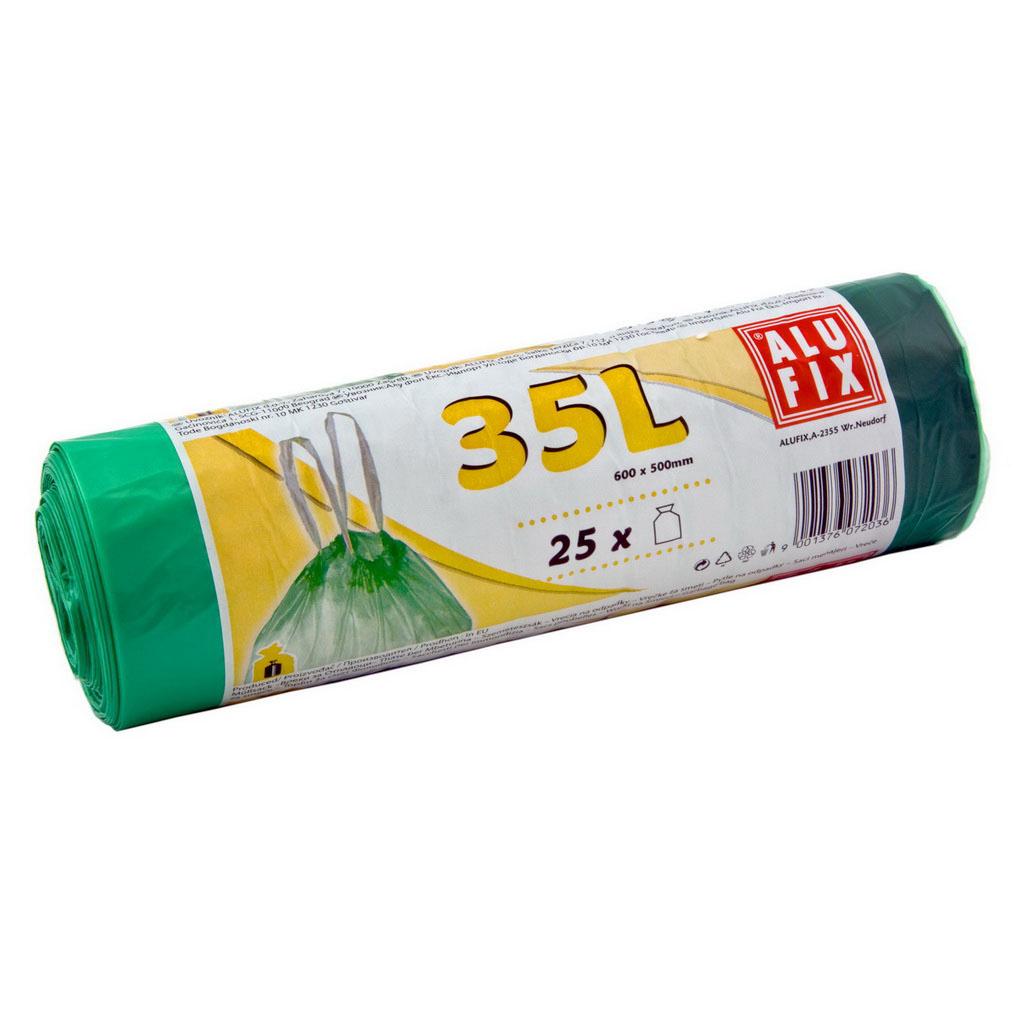 Vrecká do odpad. koša - zaťahovacie 60cm x 53cm (35l) ALUFIX / 25 ks zelené