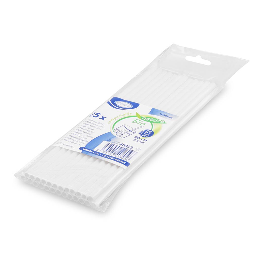Slamky papierové, biele 20 cm / 25 ks