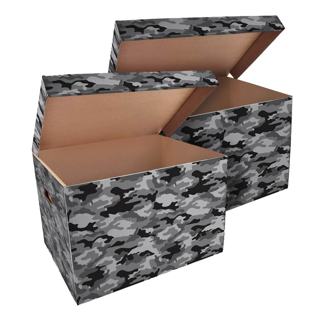ŠEVT Úložná krabica, 42,5 x 33 x 30 cm, vzor army, 2 ks
