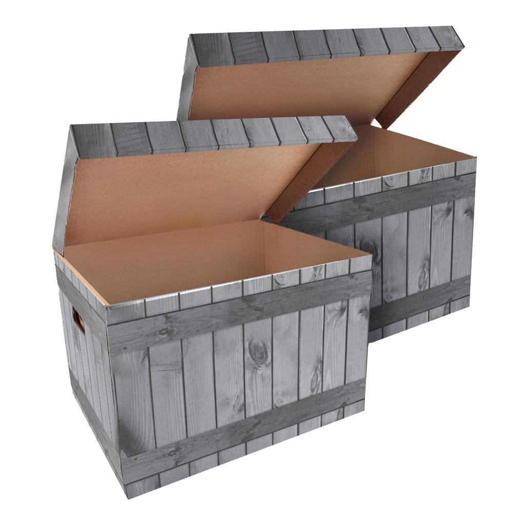 ŠEVT Úložná krabica, 42,5 x 33 x 30 cm, vzor drevo, 2 ks