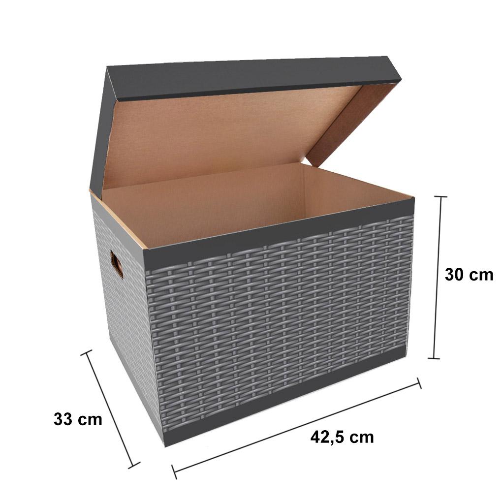 ŠEVT Úložná krabica, 42,5 x 33 x 30 cm, vzor ratan, 2 ks