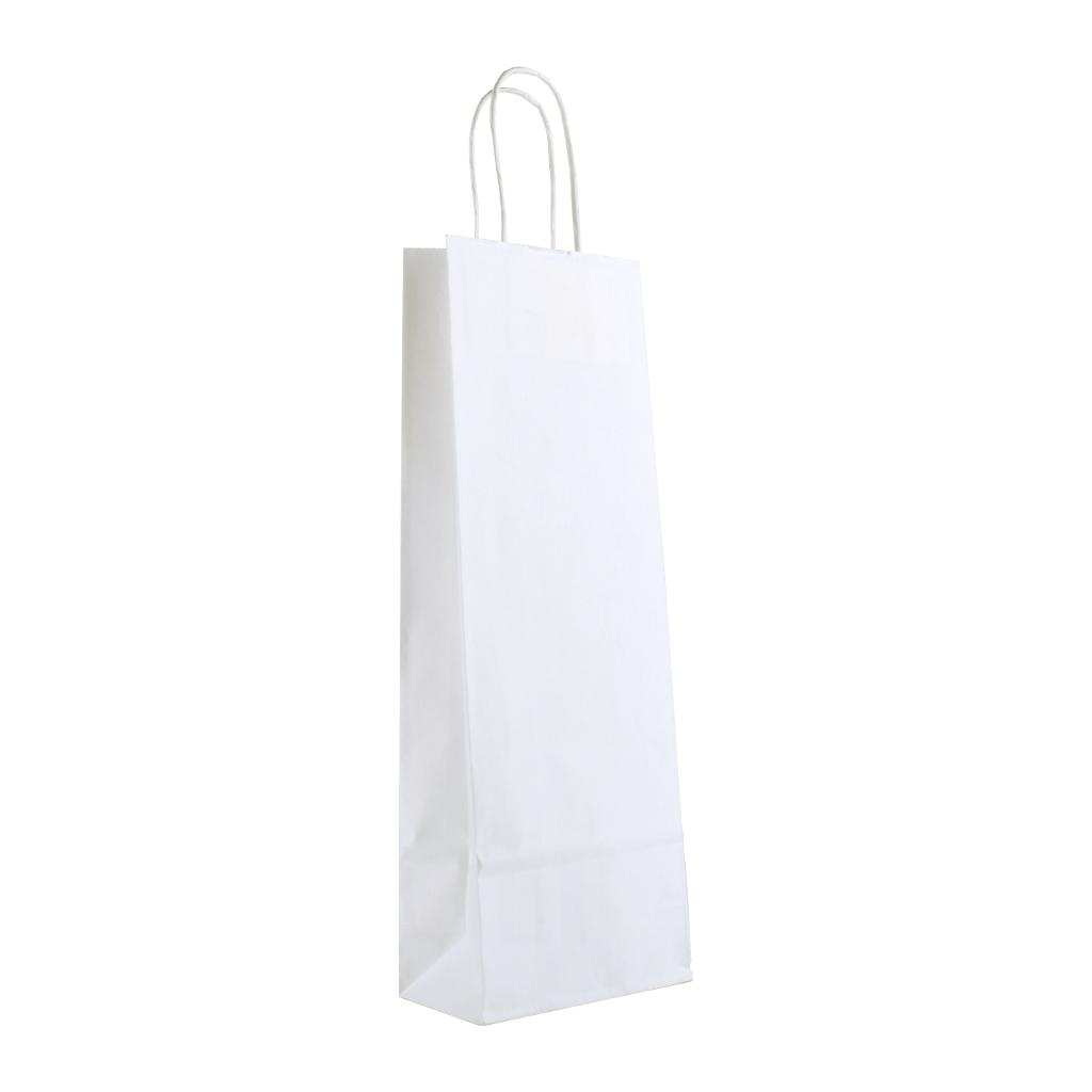 Papierová taška na víno s krúteným uchom 14x8x39 cm biela