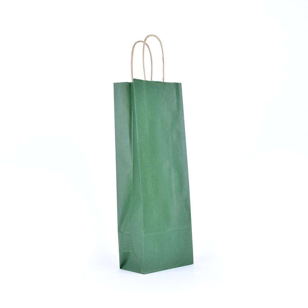 Papierová taška na víno s krúteným uchom 14x8x39 cm tmavo zelená