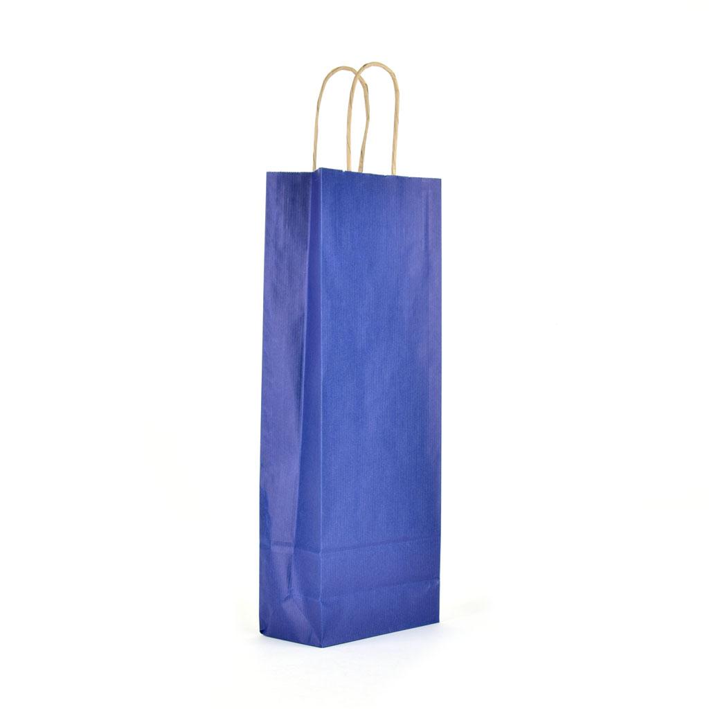 Papierová taška na víno s krúteným uchom 14x8x39 cm tmavo modrá