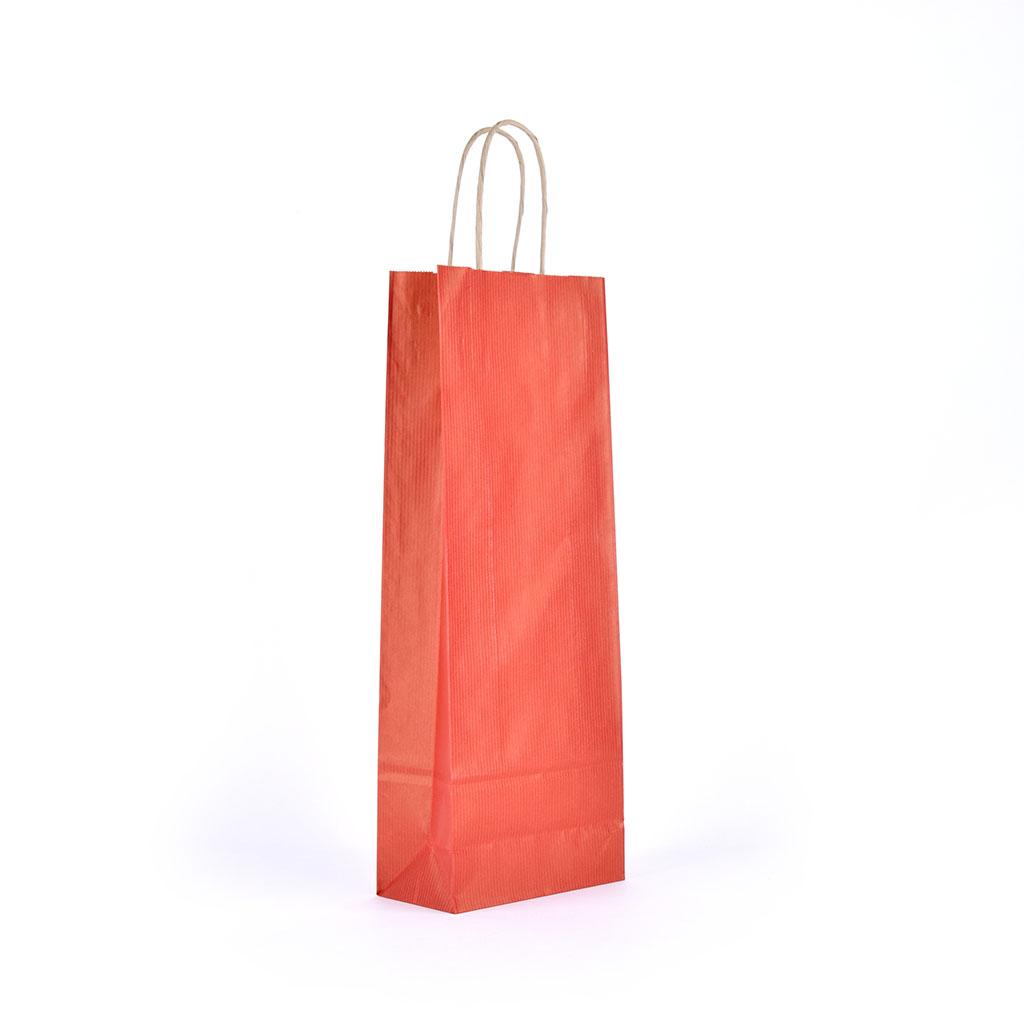 Papierová taška na víno s krúteným uchom 14x8x39 cm tmavo červená