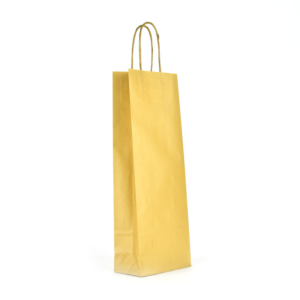 Papierová taška na víno s krúteným uchom 14x8x39 cm metalická zlatá