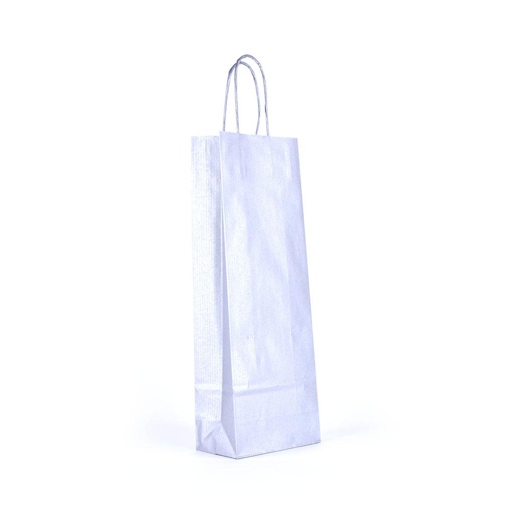 Papierová taška na víno s krúteným uchom 14x8x39 cm metalická strieborná