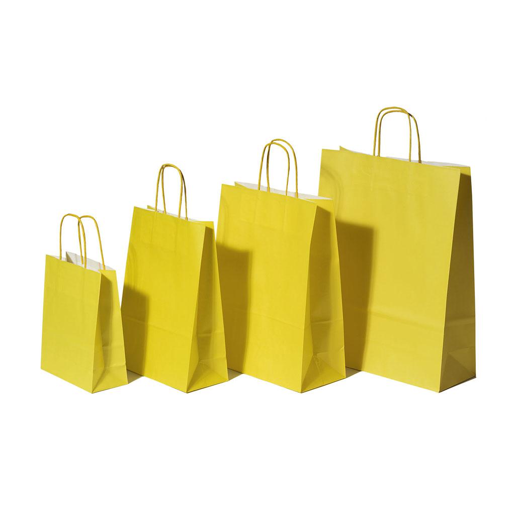 Papierová taška s krúteným uchom 18x8x22 cm žltá