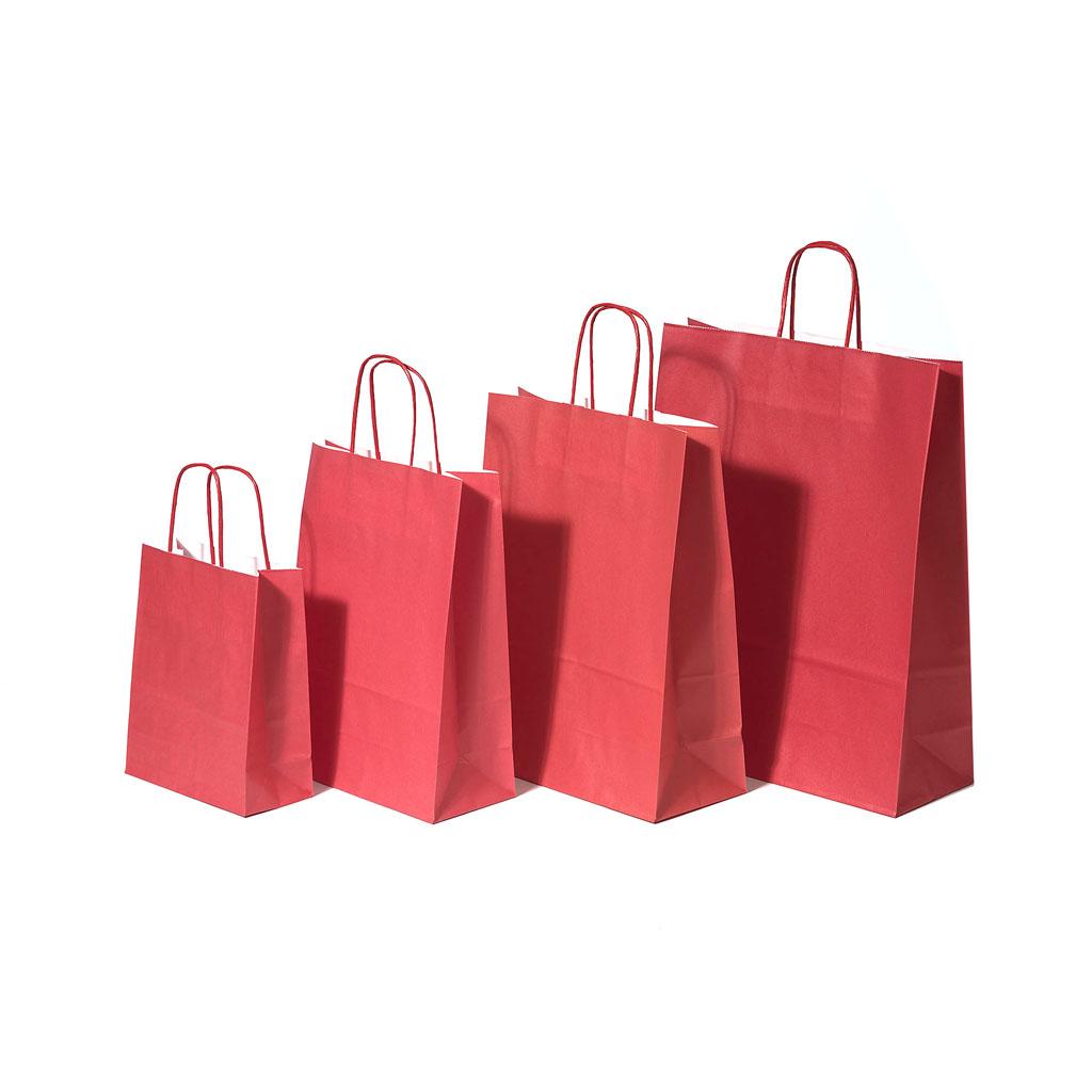 Papierová taška s krúteným uchom 18x8x22 cm červená