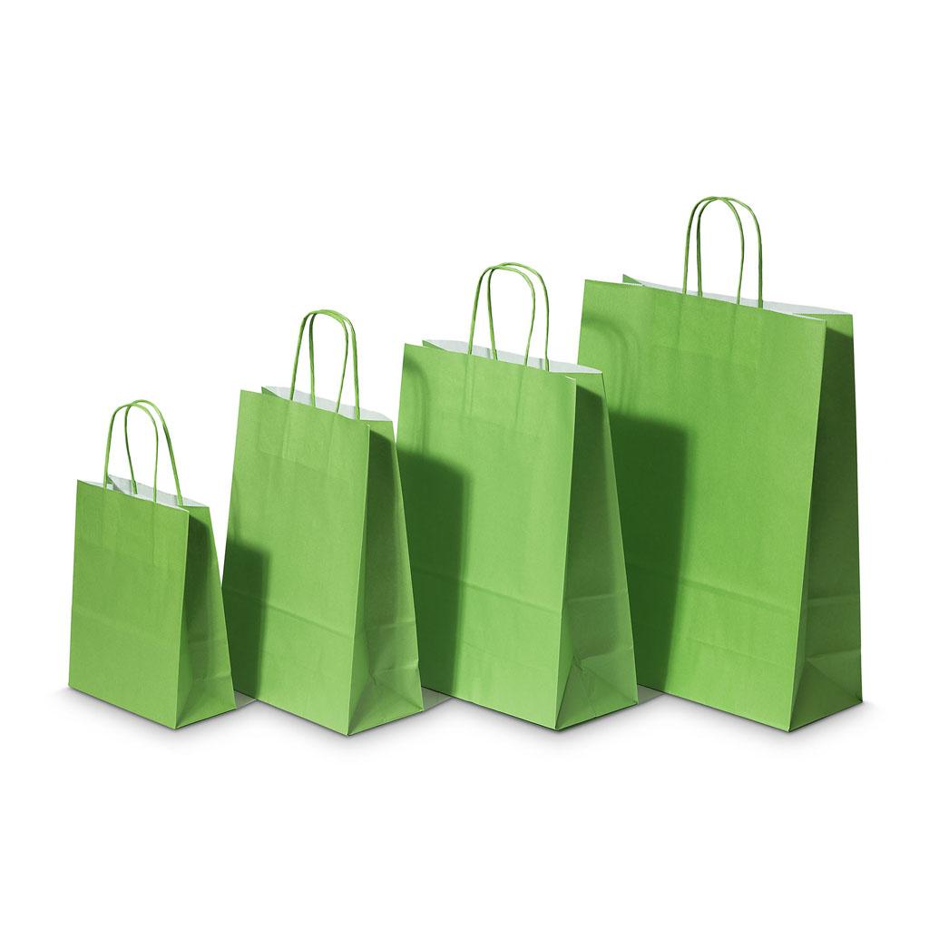 Papierová taška s krúteným uchom 26x12x35 cm zelená