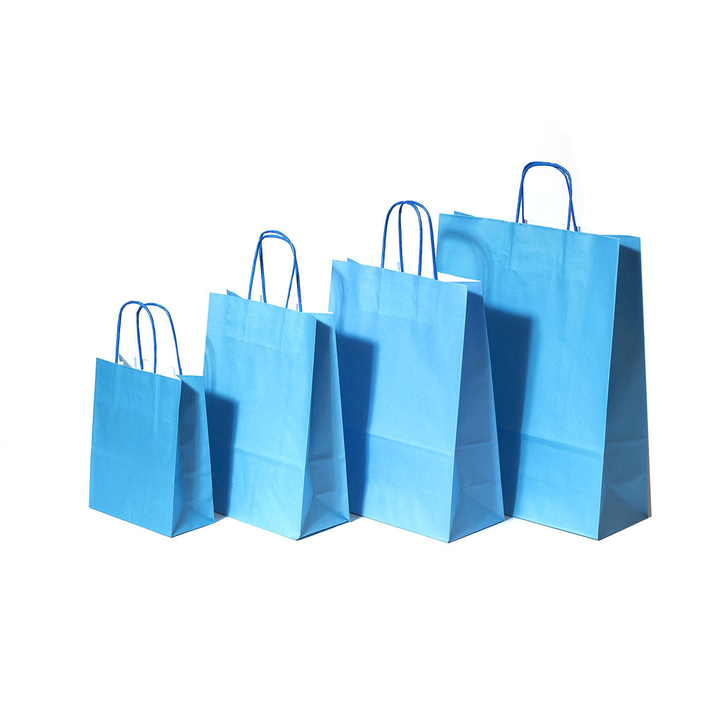 Papierová taška s krúteným uchom 26x12x35 cm modrá