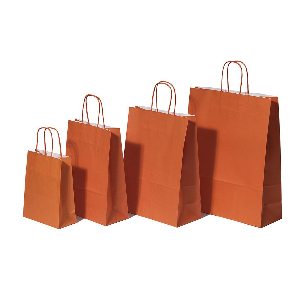 Papierová taška s krúteným uchom 26x12x35 cm oranžová